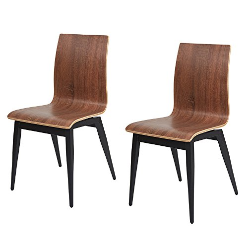 Dporticus Kitchen & Dining Room Chairs with Bentwood and Metal Legs Bistro Cafe Side Chairs Indoor and Outdoor Use Set of 2 Brown Cafe Aluminum Side Chair