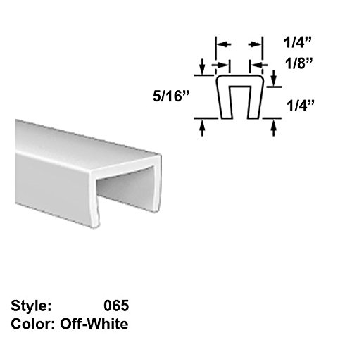 Food-Grade Nylon Plastic U-Channel Push-On Trim, Style 065 - Ht. 5/16'' x Wd. 1/4'' - Off-White - 25 ft long by Gordon Glass Co.