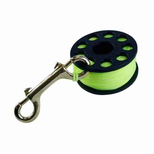(ScubaMax Yellow Line 100 ft Finger Spool with Brass Clip - DR-03-Y)