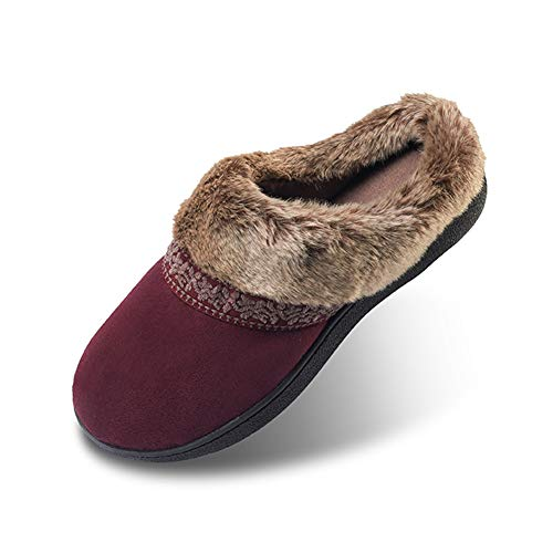 Suede Clog Microfiber (Women's House Slippers Microfiber Upper Slip-on Slight Clog Indoor/Outdoor Shoes-Red-M)