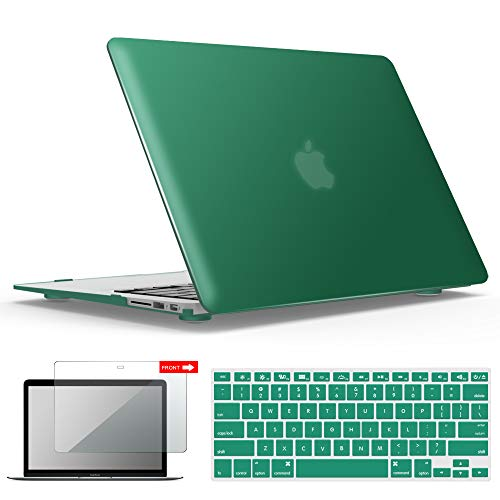 IBENZER MacBook Air 13 Inch Case, Soft Touch Hard Case Shell Cover with Keyboard Cover Screen Protector for Apple MacBook Air 13 A1369 1466 NO Touch ID, Peacock Green,MMA13LMGN+2