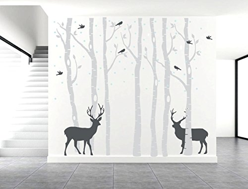 Fymural Forest and Deers Tree Wall Stickers Art Mural Wallpaper for Bedroom Kid Baby Nursery Vinyl Removable DIY Decals 118.1x102.4,Grey+Black