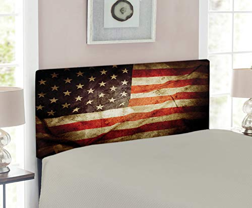 (Lunarable American Flag Headboard, United States Flag with Damaged Effects and Dated Macro National Pride Photo, Upholstered Decorative Metal Headboard with Memory Foam, for Twin Size Bed, Multicolor)
