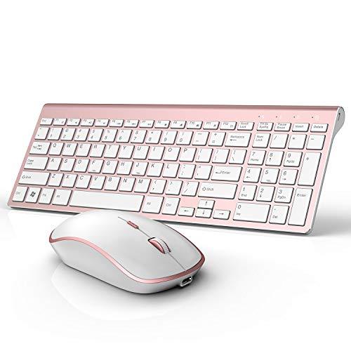 Wireless Keyboard Mouse, J JOYACCESS Aluminum Metal Wireless Keyboard and Mouse, Rechargeable Ergonomic Design Ful-sized Numeric Keypad, Adjustable High DPI 2400 for Windows/Smart TV/Gaming, Rose Gold