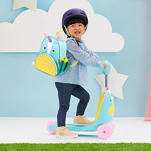 41cJp0doaUL - Skip Hop Kids 3-in-1 Ride On Scooter and Wagon Toy, Unicorn