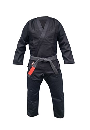 Your Jiu Jitsu Gear Brazilian Jiu Jitsu Premium Uniform with FREE BJJ Belt A3 Black