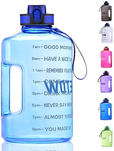 ETDW Gallon Water Bottle with Time Marker BPA Free 128oz//74oz Leak Proof Big Water Jug with Handle Huge Sports Water Bottle for Gym Camping Daily Water Intake