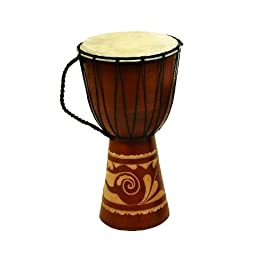 Deco 79 89847 Wood Leather Djembe Drum Home Décor Product, 16″H/9″W