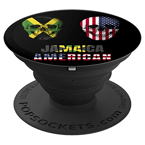 Jamaica American Skull Flag Gift Black History Month - PopSockets Grip and Stand for Phones and Tablets