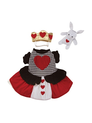 Casual Canine Queen Of Hearts Alice In Wonderland Type Halloween Dog Costume with White Rabbit Bunny Toy -