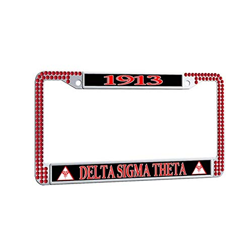 Delta Sigma Theta License Plate Frame,Greek-Lettered Sorority Red Rhinestones Car Plate Frame Decorative Auto Car tag Frame