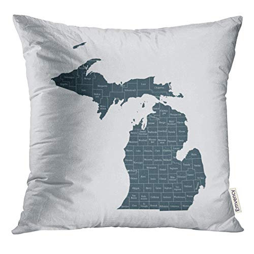 UPOOS Throw Pillow Cover State Map of Michigan Abstract America Decorative Pillow Case Home Decor Square 18x18 Inches Pillowcase
