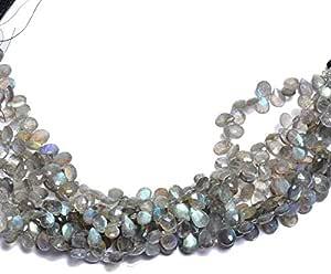 Briolette de labradorita, perlas de Briolette de pera facetadas de piedras preciosas AAA | Filamento de 8 pulgadas | Cuentas de piedras preciosas de fuego azul natural | 7x10mm Tamaño