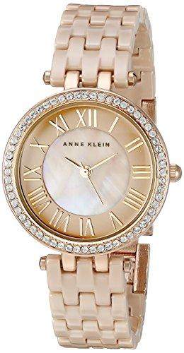 Anne Klein Women's AK/2200TNGB Swarovski Crystal Accented Tan Ceramic Bracelet Watch
