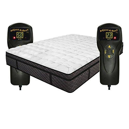 InnoMax 2MYQC6T Mystique Dual Digital Euro Top Air Bed Mattress, King, White, Grey/Black Slate Side Panels