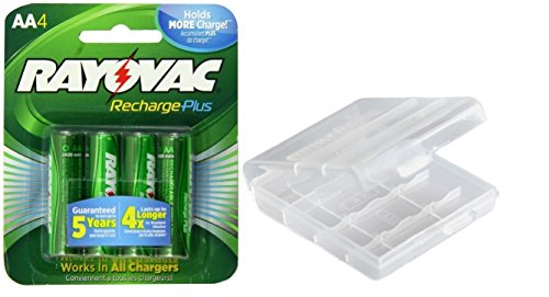 Rayovac AA Recharge PLUS High-Capacity Rechargeable 2400mAh NiMH Pre-Charged Batteries 4 Pack, With Battery Case