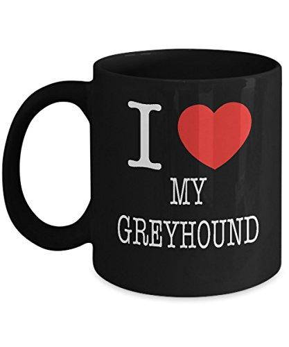 Red Bone Hound Dogs (I Heart My Greyhound Dog Lover Acrylic Coffee Mug Black 11oz)