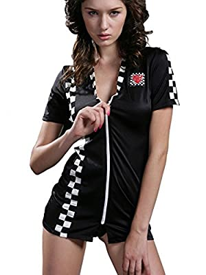 Sexy Women's Short Sleeved Car Drive Halloween Racer Dress Costume