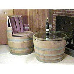 "Wine Barrel Coffee table base only, lacquer finished for indoors, 26""D x 17""H"