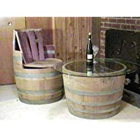 Wine Barrel Coffee table base only, lacquer finished for indoors, 26D x 17H