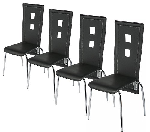 Merax High Back Dining Chairs Black Side Set Of 4
