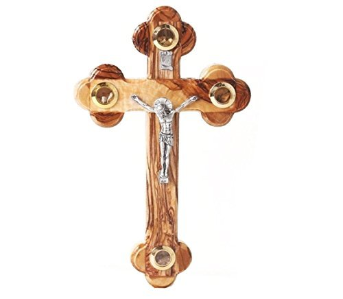 Holy Mud (Christmas or Thanks Giving Day Gift, Wooden Olive Wood Cross, Wooden Wall Hanging Design with 4 Golden Glass of Mud, Wooden Wall Cross, Brown Color Cross, Christian Cross Jerusalem, Height -  7 Inch)