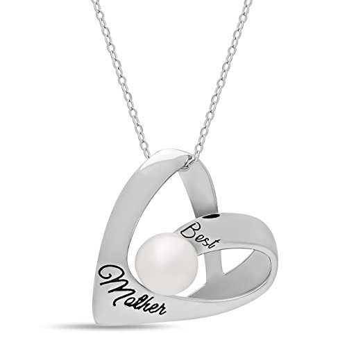 Elegant Mother Heart Necklace, Silver Necklace for Mom w 5mm Simulated Shell Pearl Silver Plated Pearl Heart Necklace Engraved