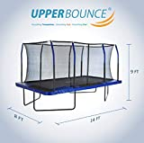 Upper Bounce 8' X 14' Gymnastics Style, Rectangular Trampoline Set with Premium Top-Ring Enclosure System - Blue/Black