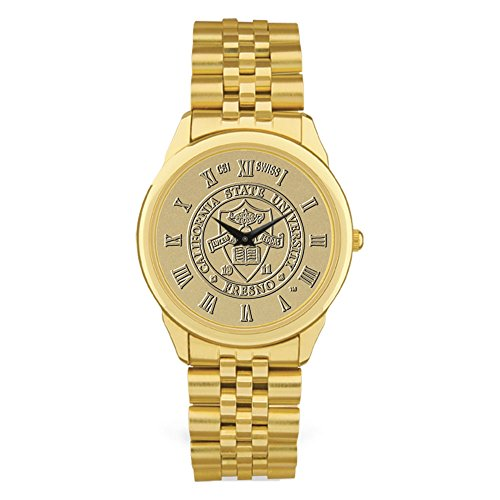 State Fresno Wrist Watch - AdSpec NCAA Fresno State Bulldogs Men's Wristwatch, One Size, Gold