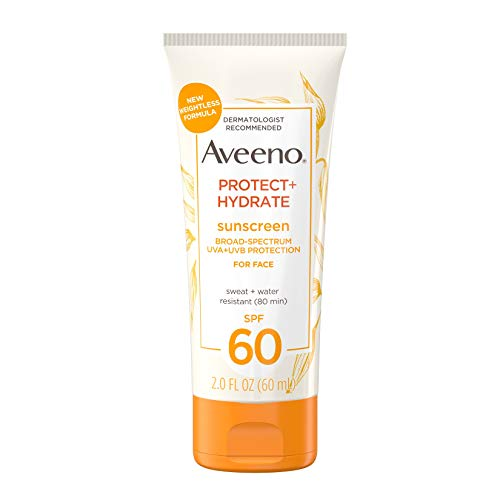 Aveeno Protect + Hydrate Moisturizing Face Sunscreen Lotion With Broad Spectrum Spf 60 & Prebiotic Oat, Weightless & Refreshing Feel, Paraben-free, Oil-free, Oxybenzone-free, 2.0 oz.