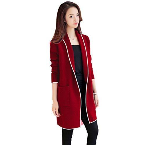 Veste Revers Rouge Longues Casual Zjewh Longue Cardigan Xl Veste Velvet Manteau Unie Plus Femmes Manches Couleur qv4aT6