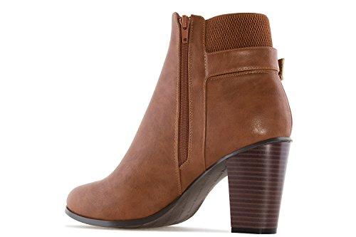 Andres Machado Damen Stiefelette - Cognac Schuhe in Übergrößen