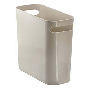 mDesign Slim Plastic Rectangular Small Trash Can Wastebasket, Garbage Container Bin with Handles for Bathroom, Kitchen, Home Office, Dorm, Kids Room - 10  High, Shatter-Resistant - Taupe/Tan