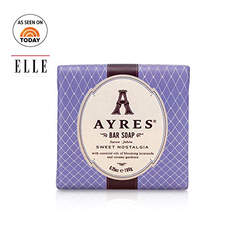 AYRES Sweet Nostalgia Natural Cleansing Bar Soap 6.35 oz. (180g) | Enriched with Shea Butter, Grape Seed Oil & Olive Oil |Naturally Derived, vegetable based, infused with pure essential oils - Soap Pure Freesia Vegetable