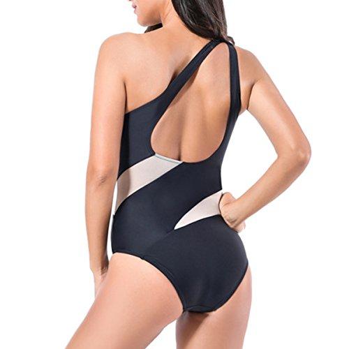 Women Color Block Bikini One Piece Swimsuit Off Shoulder Swimwear