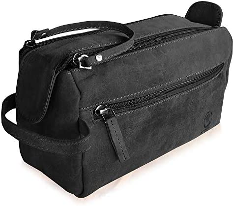 Rustic Town Buffalo Leather Toiletry Bag : Vintage Travel Shaving & Dopp Kit : for Toiletries, Cosmetics & More : Spacious Interior & Waterproof Lining : Compact, Fits Easily in Luggage