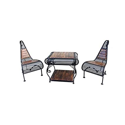 Acme Production Wooden & Iron Carved,Decorative Table with 2 Chair Set