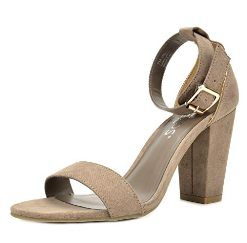 (TOETOS Women's Stella-02 Taupe Open Toe Mid Chunky Heel Pump Sandals - 9 M)