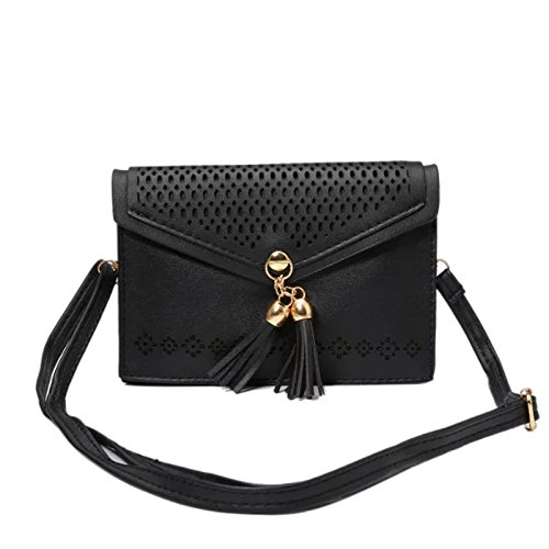 Cross-Body Cell Phone Bag, Dteck(TM) Vintage Elegant Hollow Out Flower Design PU Leather Cell Phone Purse with Fashion Fringe for iPhone 6 6S 6S Plus,Samsung Galaxy Series Note 4 S6 S7--Black