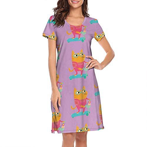 Mom Cute Crazy Cat Nature Cute Flowers Purple Ginger Scooter Long Sexy Short Sleeve Nightgown Nightdress