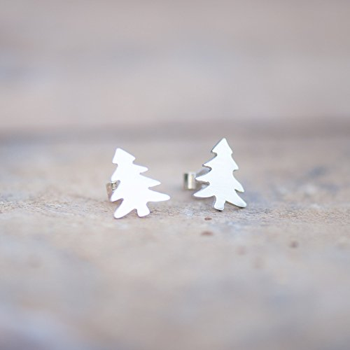 Sterling Silver Pine Tree Stud Earrings