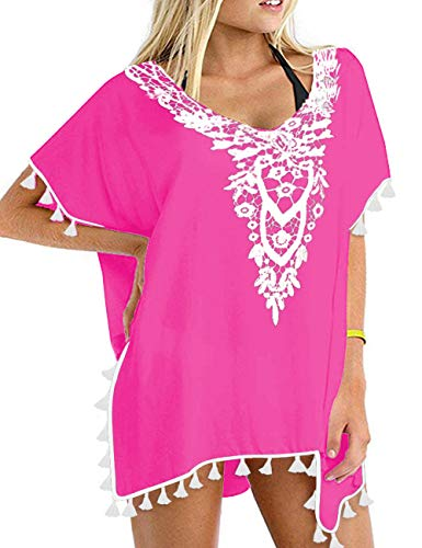 (CPOKRTWSO Women's V-Neck Cut Loose Bathing Suit Swimsuit Cover Ups Beach Dress Rosy 2XL)