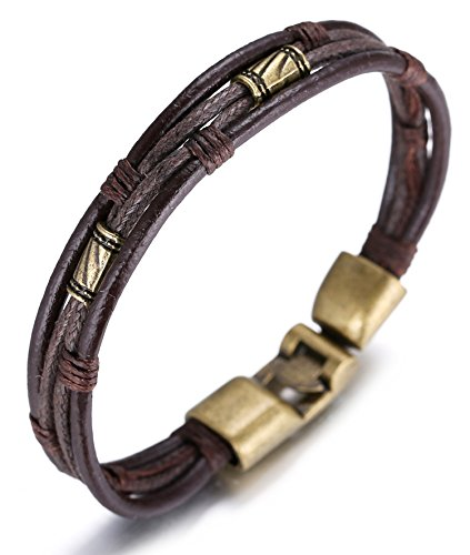 Halukakah Retro Men Leather Bracelet Vintage Style 8.66In 22cm with Free...