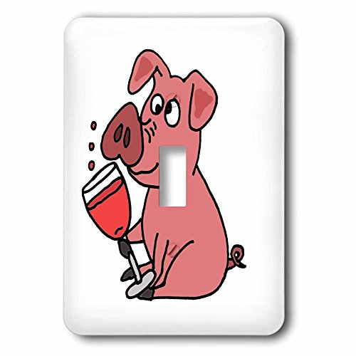 All Smiles Art Food and Drinks - Funny Pink Pig Drinking Wine Cartoon - Light Switch Covers - single toggle switch (lsp_240058_1) (Pink Zinfandel Wine)