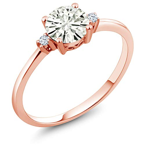 (10K Rose Gold Solitaire Ring Forever Classic Round 0.80ct (DEW) Created Moissanite by Charles & Colvard and Created Sapphire (Size 5))