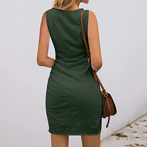 Casual Dresses, Ladies Fashion Solid Color Sleeveless Round Neck Cross Hem Casual Dress for Women (Army Green_47,M)
