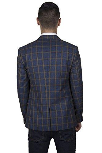 Blue Slim Windowpane Business Jacket Blazer Check Marc Casual Darcy Mens Print FqOWTE4