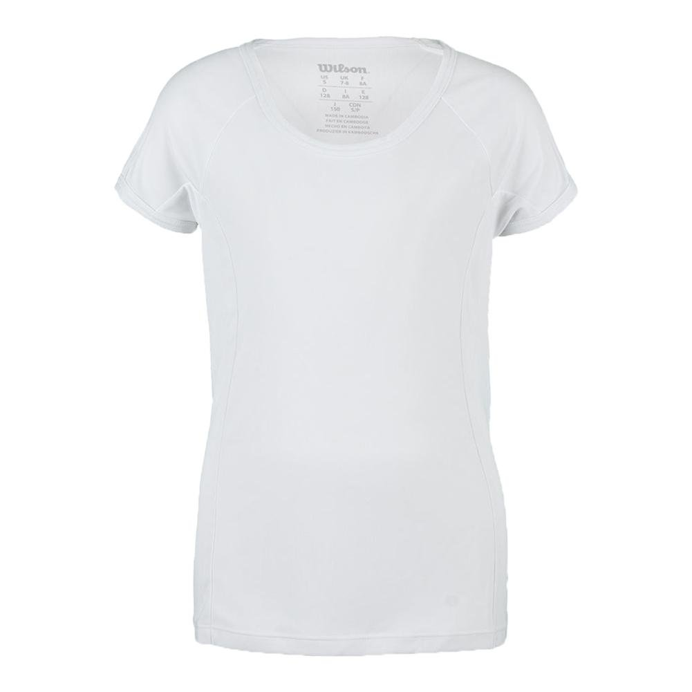 Girl's nVision Elite Cap Sleeve Top White Large