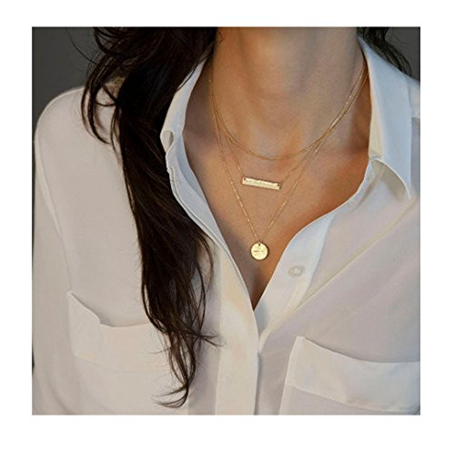 Mother Of Pearl Circular Earring (Sinfu Necklace Women Fashion Vintage Simple Bar Sequins Pendant Multilayer Alloy Short Necklace)
