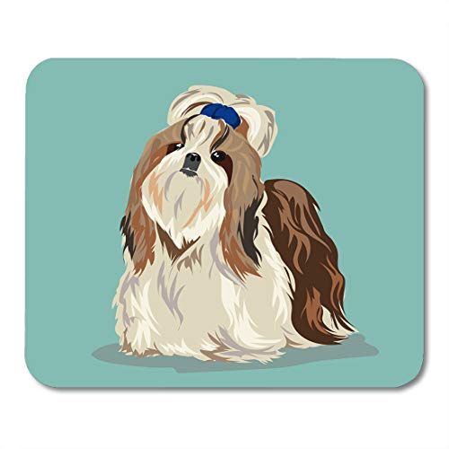 """Price comparison product image Emvency Mouse Pads Beige Adorable Shih Tzu Dog at One Color Animals Attentive Beautiful Mouse pad 9.5"""" x 7.9"""" for Notebooks,Desktop Computers Accessories Mini Office Supplies Mouse Mats"""